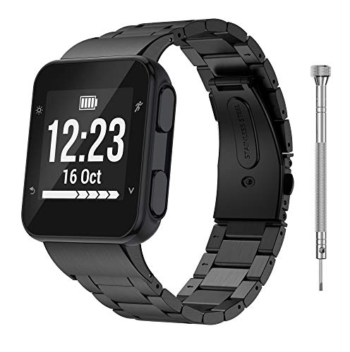 GELISHI Compatible with Garmin Forerunner 35 Watch Bands, Solid Stainless Steel Link Bracelet Replacement Wristbands for Garmin Forerunner 35 Watch - Black(No Tracker)