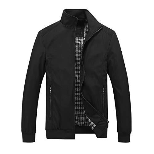 URBANFIND Men's Lightweight Windbreaker Softshell Sportswear Bomber Jacket US L Black