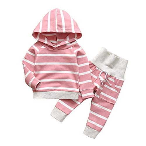 (Baby Girl 3 6 12 18 Months Outfit Pink Long Sleeve Sweater Hoodie Elastic Striped Pants for Toddler Infant Clothing Sets 12-18m)