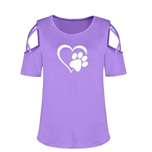 Blouses Hauts T tefamore paule Courtes Manches violet Z d't Femmes Shirt Strappy Froide qgwvFfqM