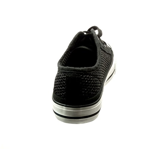 Angkorly - Zapatillas de Moda Deportivos mujer fishnet brillante Talón tacón plano 2.5 CM - Negro