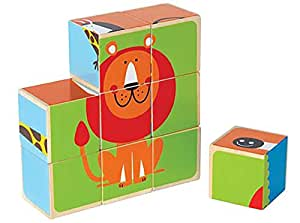 Hape Zoo Animals Wooden Toddler Stacking Block Puzzle