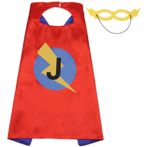 Superhero Capes Kids Initials of Name Birthday Cape for Party Boys Girls Letter Capes (J Fancy Dress Costumes)