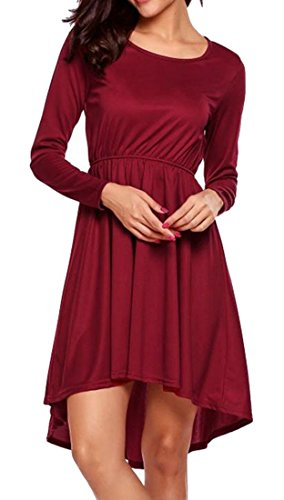 Pure Dress Autumn Low Mini Cromoncent Long Women Elastic Hi Color Waist Sleeve Red CqW5P