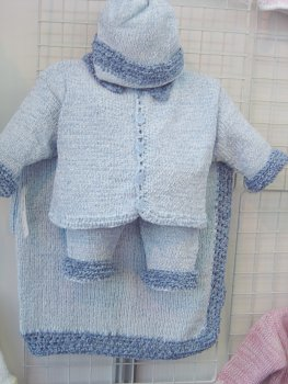 Blue Chenille Denim Trim Infant Boy Cardigan Sweater Pant Hat and Blanket