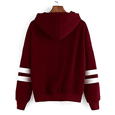 GOGOBO Women Hoodie Pullover Sweatshirt Cute Baseball Long Sleeve T Shirt Solid Hooded Blouse Tops Casual Simple Style Jumper