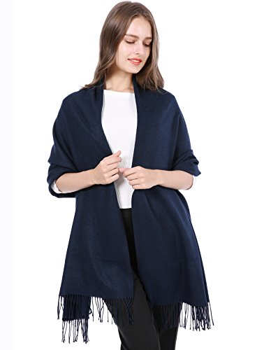 - 100% Cashmere Wool Thick Soft Warm Long Scarf Shawl Scarves Wrap/Gift Box JAKY Global(Navy)