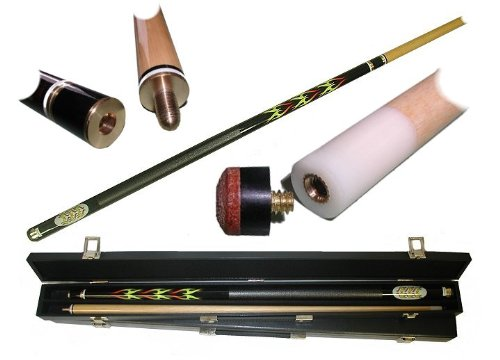 2 Piece Hardwood Blazing Flames Design Pool Stick Cue - With Carrying Case! by TMG