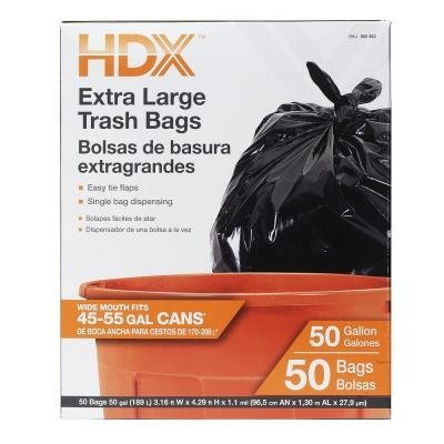 HDX 50 Gal. Extra Large Black Trash Bags (50-Count) HMD
