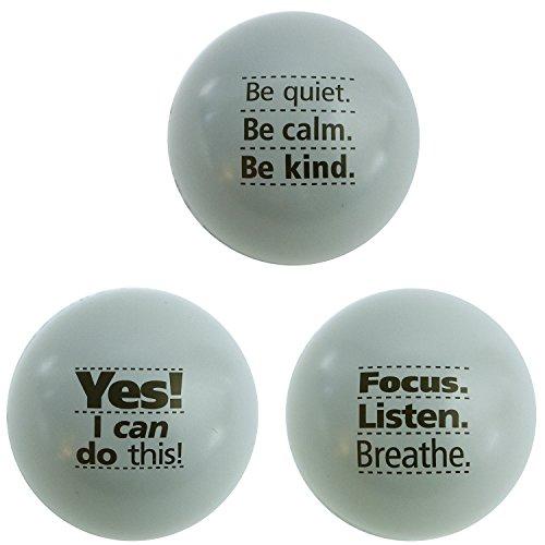 Motivational Stress Balls, 3 Pack, Teacher Peach Stress Relief Gifts (Gray)