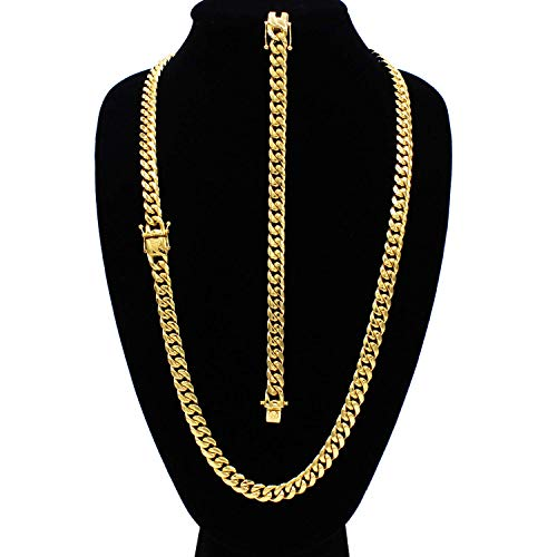 Cuban Link Necklace Bracelet Set 18k Gold Plated Miami Cuban Stainless Steel Fashion Jewelry 10mm