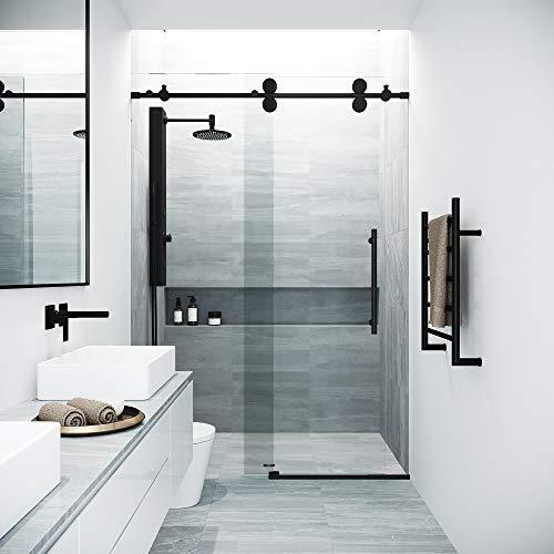 (VIGO Elan Adjustable Frameless Sliding Shower Door, Matte Black, 60'' W x 74'' H)