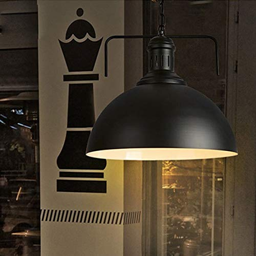 NANGE Vintage Chandeliers, Creative Personality Retro Iron Pot Cover Single Head Hanging Lamp,Restaurant Bedroom Living Room Bar,E27(Without Light Source) (Color : Black, Size : AC 220V)