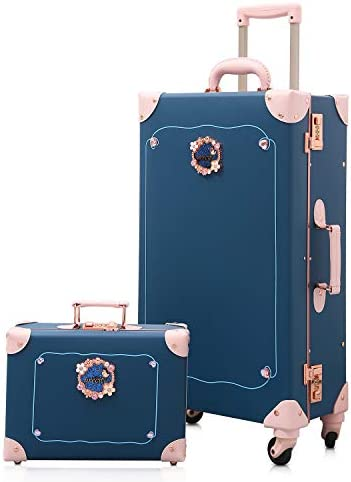 urecity cute vintage luggage sets 2 piece for teen girls and women Alice Blue, 26 12