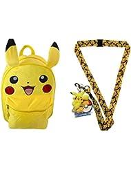 Pokemon 16 Pickachu Ears Backpack with Plush Front Plus Pikachu Lanyard with Dangle & Hangtag