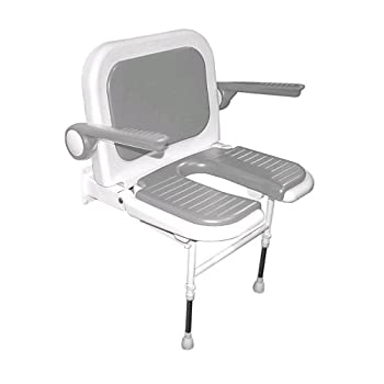 Image of ARC DS4250-GR Deluxe Wide U-Shaped Seat with Back and Arms, Gray