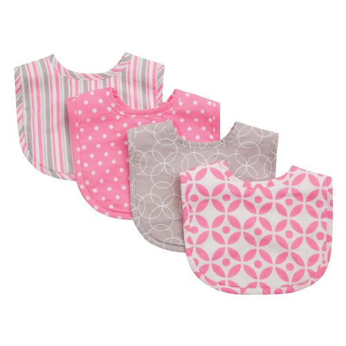 - Trend Lab Lily Drooler/Feeder Bibs 4 Pack, Pink/Gray/White