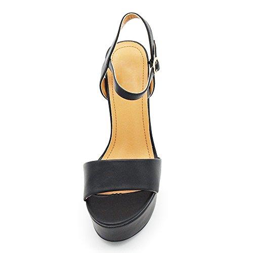 Senza marca/Generico 3381 - Sandalias de vestir de piel sintética para mujer negro negro IT 38 Nero (3381)