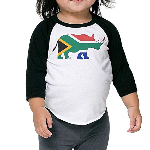QPKMRTZTX0 Boys Girls Kids & Toddler Rhino South Africa Flag Long Sleeve Tees 100% Cotton by QPKMRTZTX0