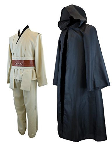 Hideaway Star Wars Jedi Style Robe Costume [ Black Version ] Anakin, OBI-Wan, Luke Cosplay Set (M) -