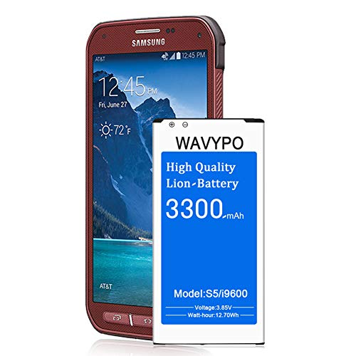 Galaxy S5 Active Battery, Wavypo 3300mAh Replacement Battery Li-ion for Samsung Galaxy S5 Active SM-G870 & Galaxy S5 Sport SM-G860, Galaxy S5 I9600,Samsung S5 Battery [24 Month Warranty]