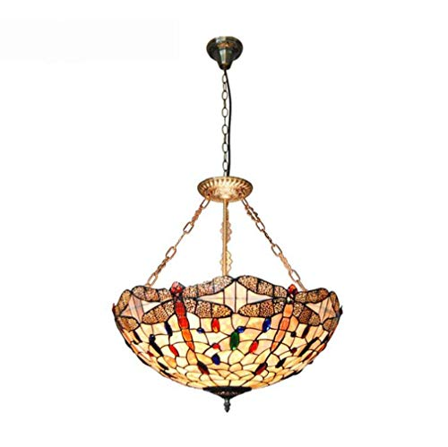 (Tiffany Style Hanging Lamp, 22-Inch Color Shell Dragonfly Pattern Pendant Light Shade 5-Light Lighting Fixtures Ceiling for Living Room Bedroom )