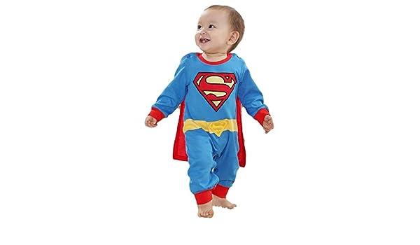 Bébé fille garçon déguisement Superman Superbaby super-héros combinaison grenouillère pyjama - bleu, 9-12 mois (80 cm): Amazon.es: Ropa y accesorios