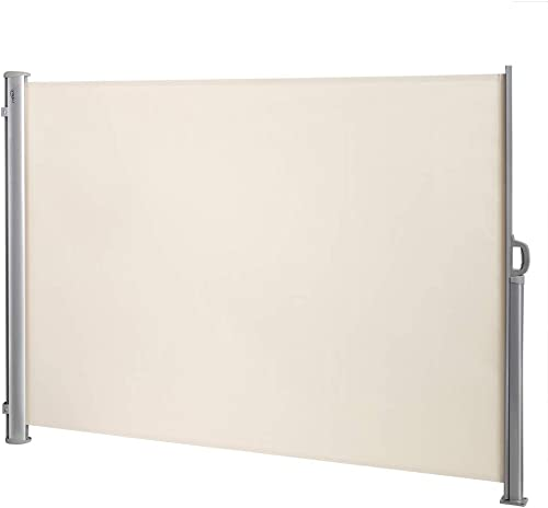 VINGLI 63 x 118 Side Awning, Patio Retractable Side Screen Awning, Screen Fence Privacy Divider, Beige