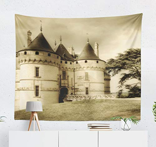 Happyome Ancient Castle Tapestry, Wall Hanging Tapestry Medieval Castle Sepia Picture Ancient Aged Architecture Wall Tapestry Dorm Home Decor Bedroom Living Room in 80