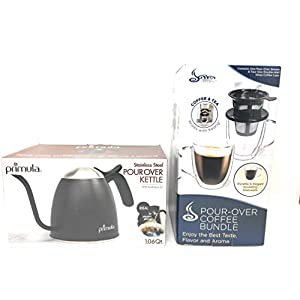 Primula Coffee Pour Over Kit - Coffee Lovers gift bundle includes Pour Over Gooseneck kettle, 12oz glass coffee mug, and pour over brewing set