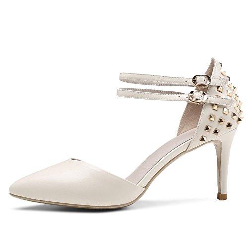 Nine Seven Cuero Puntiagudos Zapatos de Tacón Aguja con Correa de Tobillo de Vestir para Mujer Beige