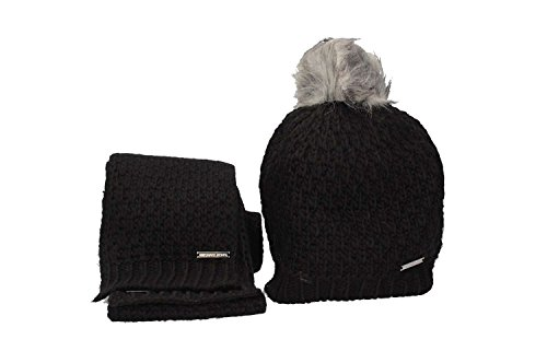 Michael Michael Kors Womens 2 Piece Knit Pom Hat and Scarf Set Fall 2017 Black by Michael Kors