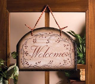 - Beautiful Rosehip Slate Welcome Sign