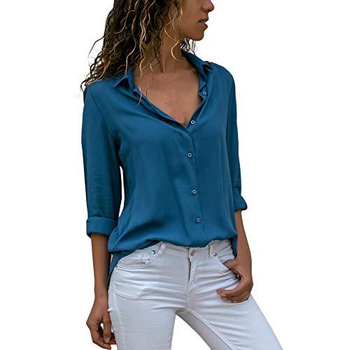 Duseedik Women Tops, Ladies Loose Blouse Tunics T Shirt Tees Chiffon Long Sleeve OL Shirt Casual Blue]()
