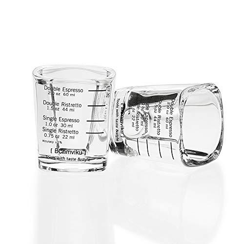 BCnmviku Espresso Shot Glasses Measuring Cup Liquid Heavy Glass for Baristas 2oz for Single Shot of Ristrettos (2 ()
