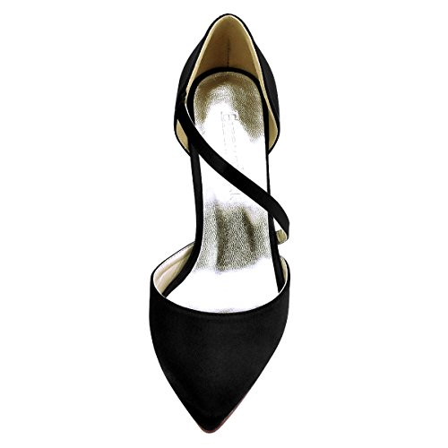 Toe Black Dress Women Wedding Elegantpark Satin Pointy Strappy Heel High Pumps Party Shoes a70qpBwRq