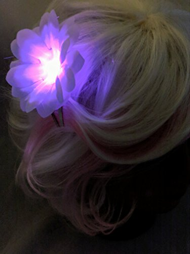 Glowing LED Light up Flower Clip for Hair - Rainbow Daisy - Festival, Glow in the Dark Party, Hair Pin, Novelty Gift, Light up Flower Accessory, Dancing Hair Pin - Neon Party]()