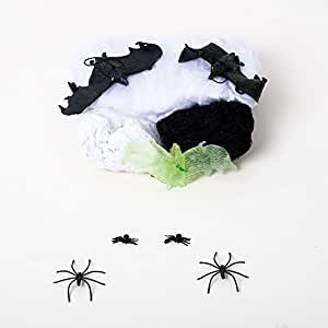 Halloween Decoration Bundle Outside Yard Decor or indoor 3 Hanging Bats, 1 White Spider Cob Webs, 2 Creepy Cloths - Pack of 10