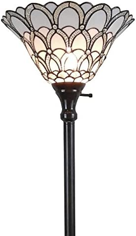 Tiffany Style Torchiere Standing Peacock Floor Lamp 72 Tall Stained Glass Shade White Antique Vintage Light Bedroom Living Room Reading Antique Vintage Gift AM071FL11 Amora Lighting