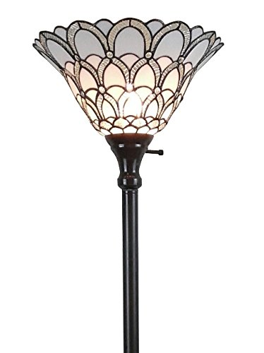 """Tiffany Style Torchiere Standing Peacock Floor Lamp 72"""" Tall Stained Glass Shade White Antique Vintage Light Bedroom Living Room Reading Antique Vintage Gift AM071FL11 Amora Lighting"""