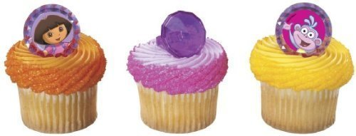 12 Cupcake Toppers Rings Dora the Explorer Boots Gemstones Party Decorations by Oasis Supply -  9308218