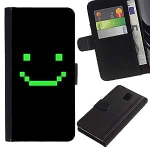 KingStore / Leather Etui en cuir / Samsung Galaxy Note 3 III / Juego de ordenador Arte sonriente del Emoticon