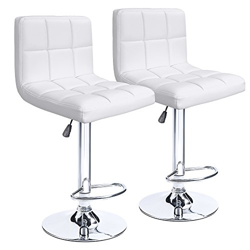 Homall Modern PU Leather Adjustable Swivel Barstools, Armless Hydraulic Kitchen Counter Bar Stools Synthetic Leather Extra Height Square Island Bar Stool with Back Set of 2(White)