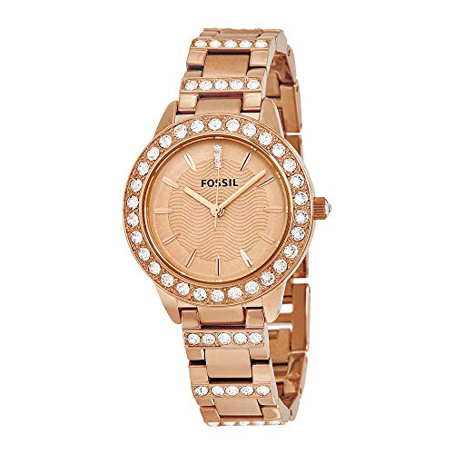 Fossil Women's 'Jesse' Quartz Stainless Steel Dress Watch, Color:Rose Gold-Toned (Model: ES3020)