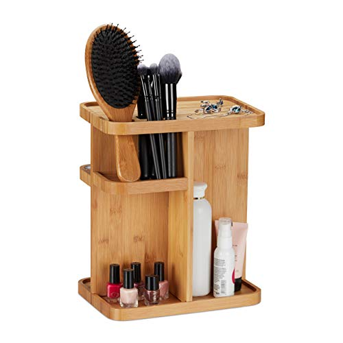 Relaxdays Bamboo Makeup, 360° Cosmetic Organiser for Bathroom & Vanity Table, HWD 31x25.5x18 cm, Natural, 18 x 25.5 x 31 cm