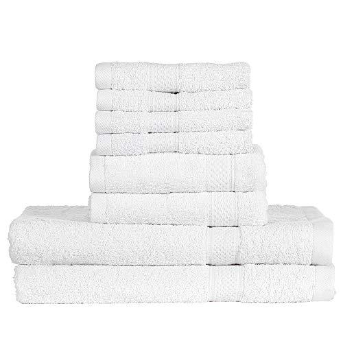 Htovila 8-Piece Cotton Towel Set 4 Washcloths + 2 Bath Towels + 2 Hand Towels Soft Breathable Absorbent Face Body Bath Towel Set for Bathroom Home Hotel-White