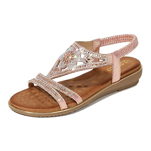 Toimothcn Bohemia Crystal Flat Sandals Women Casual Elastic Strap Peep Toe Shoes Beach Sandals (Pink4,US:8)