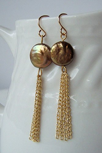 Olive Green Cultured Freshwater Coin Pearl Earrings w/Gold Finished Chain Tassels & Gold Plated Earwires