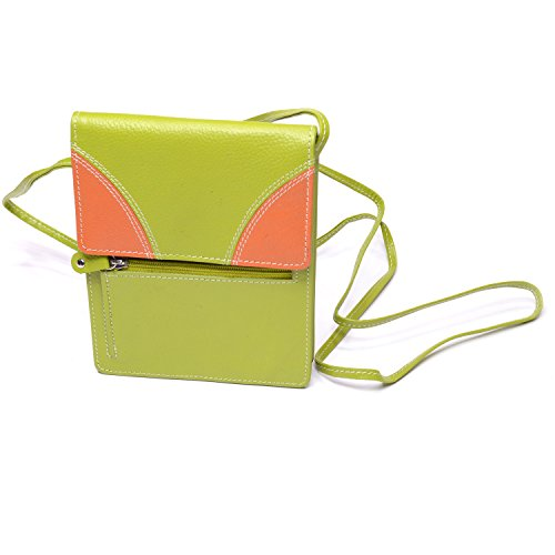 Cow Hide Leather Cross Body Hand Bag (Green and (Cow Hide Bag)