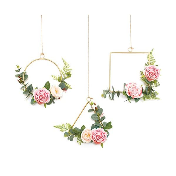 Sziqiqi Pcs of 3 Metal Wall Hanging Floral Hoop Rings Wreaths, Artificial Flower Eucalyptus Garland Greenery Wedding Wreaths, Perfect Decor for Wedding Backdrop Nursery Bridal Baby Shower, Style 1